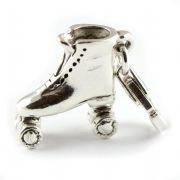 Roller Skate Sterling Silver Clip On Charm - With Clasp